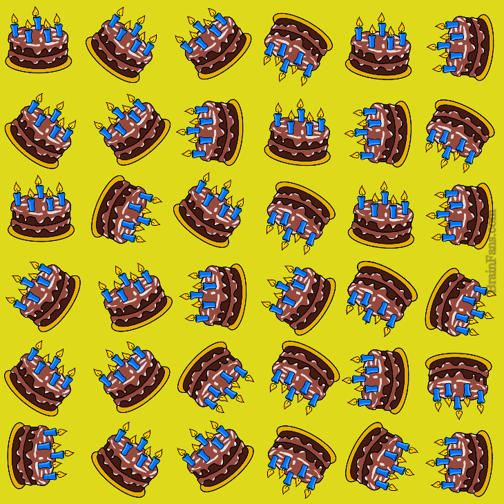 Brain teaser - Kids Riddles Logic Puzzle - birthday party - One birthday cake is slightly different to others. Can you find it?