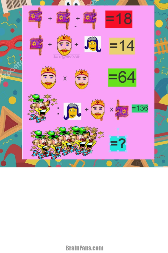 Brain teaser - Number And Math Puzzle - Happy Purim -