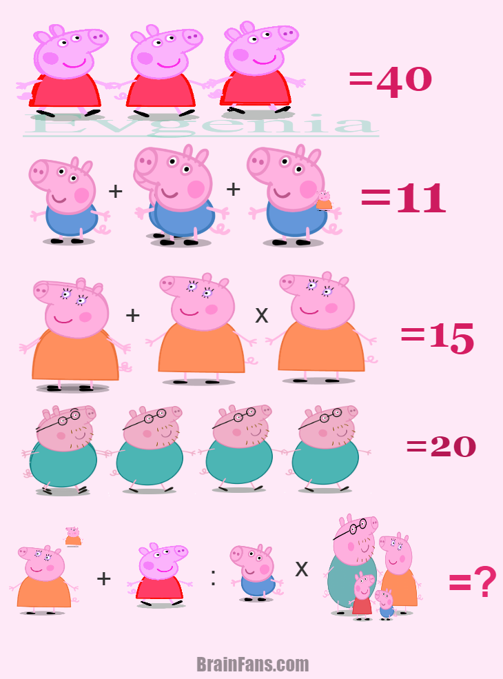 Brain teaser - Number And Math Puzzle - Peppa -