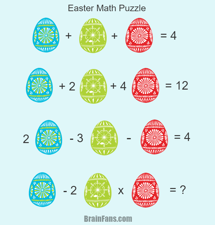 Brain teaser - Number And Math Puzzle - Easter Math Puzzle - Happy Easter everyone! Here is one math puzzle with three kind of colored eggs. Can you find an answer?