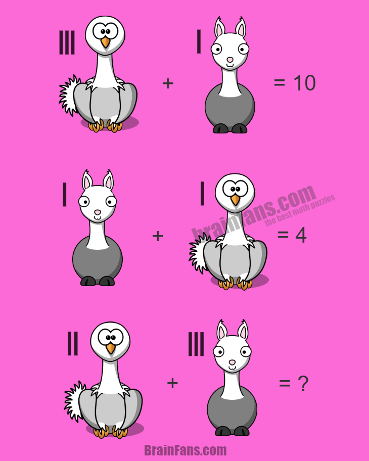 Brain teaser - Number And Math Puzzle - easy math linear equation - This easy math puzzle in a form of linear equations shows two animals (ostrich, llama). Can you find how to solve it and provide answer below?