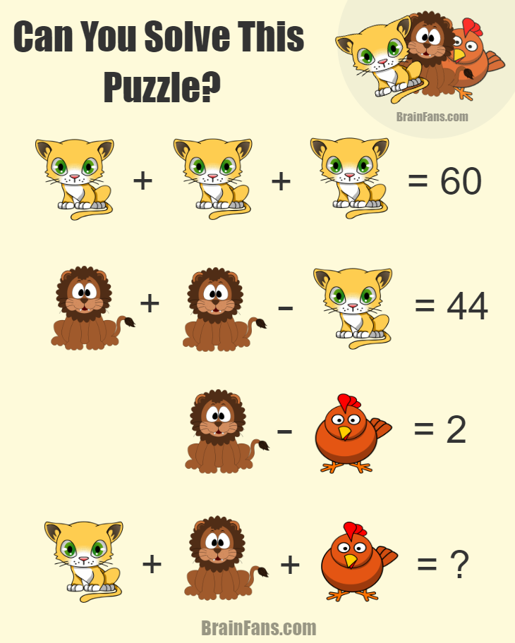 Brain teaser - Number And Math Puzzle - Equation Logic Puzzle - Find the answer for this equation logic puzzle with a cat, a lion and a chicken. It's quite easy challenge. Please write comments if you got it.