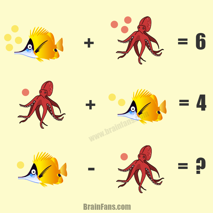 Brain teaser - Number And Math Puzzle - fish and octopus - Try to solve this tricky maths puzzle with sea animals (fish & octopus). Can you find the answer? Please comment below and like if you like this puzzle:)