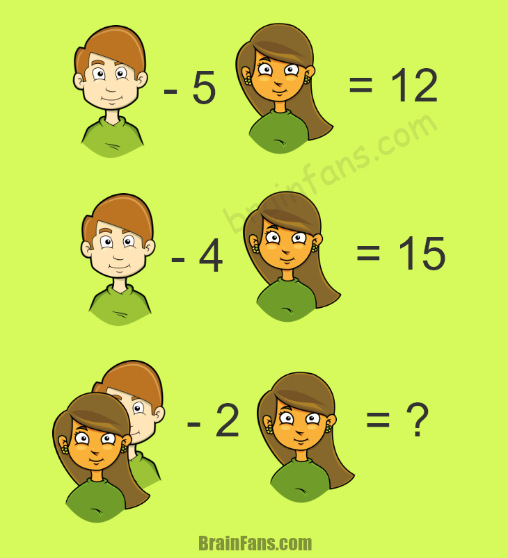 Brain teaser - Number And Math Puzzle - Girl and boy puzzle - x - 5y = 12