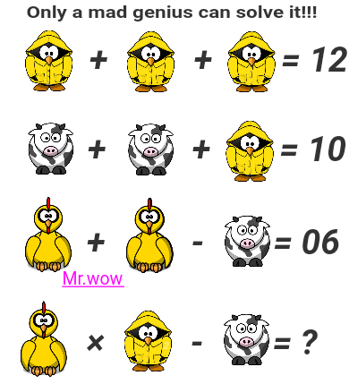Brain teaser - Number And Math Puzzle - Mr.wow - Hi! Please help me to solve this one.