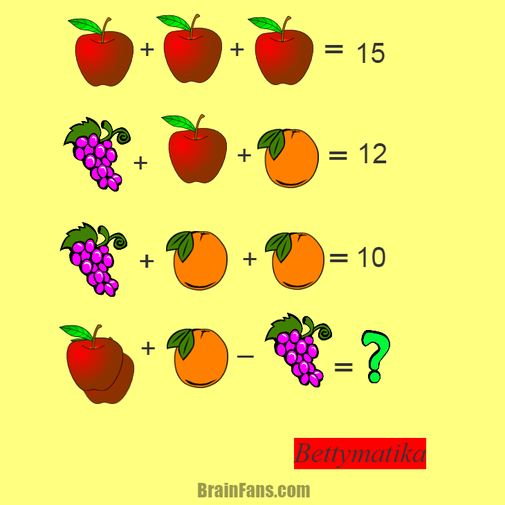 Brain teaser - Kids Riddles Logic Puzzle - Fruit - How much?