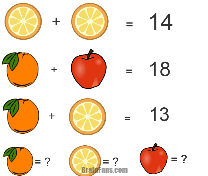 Brain teaser - Kids Riddles Logic Puzzle - fruit - hi ! It very easy so try it !