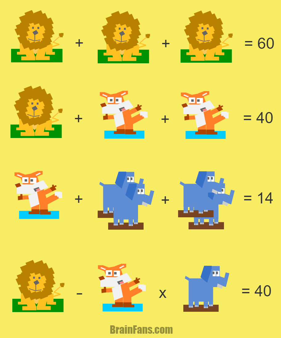 Brain teaser - Kids Riddles Logic Puzzle - Lion & Fox & Elephant - Solve this animal puzzle with three