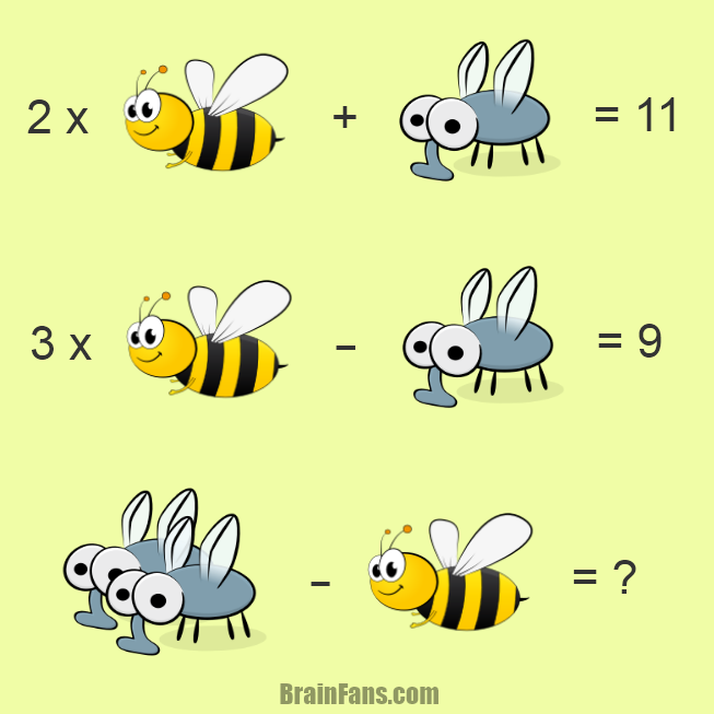 Brain teaser - Kids Riddles Logic Puzzle - mosquito & bee - Here is another maths puzzle with animals. This time can you solve mosquito & bee puzzle? Share this puzzle if you got the correct answer, thanks.