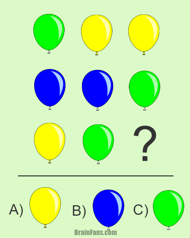Brain teaser - Kids Riddles Logic Puzzle - riddle with balloons - Replace a question mark with a correct balloon. The possible answers: blue balloon, green balloon and yellow balloon.