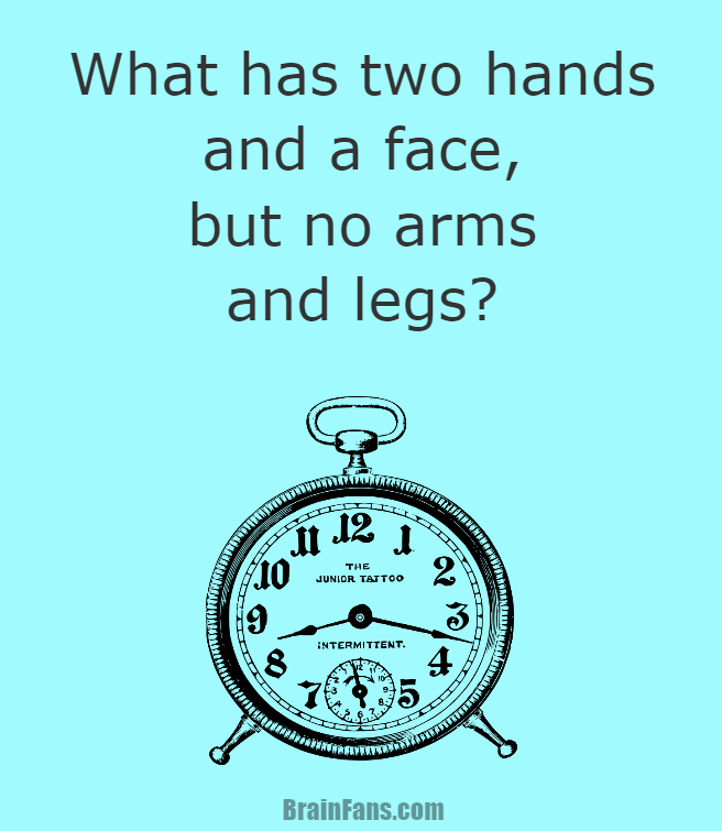 Brain teaser - Kids Riddles Logic Puzzle - What has two hands and a face riddle - What has two hands and a face riddle, but no arms and legs?