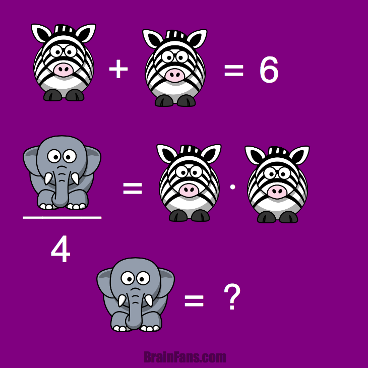 Brain teaser - Kids Riddles Logic Puzzle - Zebras and elephants -