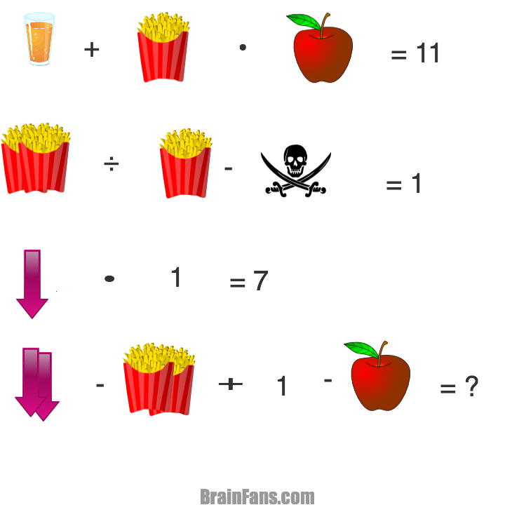 Brain teaser - Logic Riddle - popcornapplescullarrowjuice -