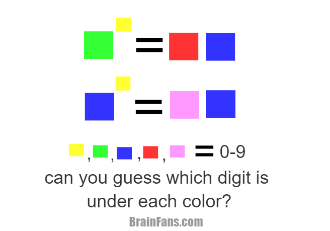 Brain teaser - Logic Riddle - The 5 Colors - you must find which digit between 0-9 is under each of the 5 colors(two colors cant be the same number)