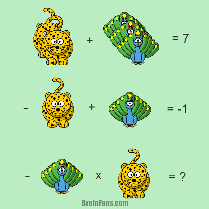 Brain teaser - Number And Math Puzzle - animal puzzle with answer - A puzzle with cartoon animals (peacock, leopard). Find the answer and share in comments.