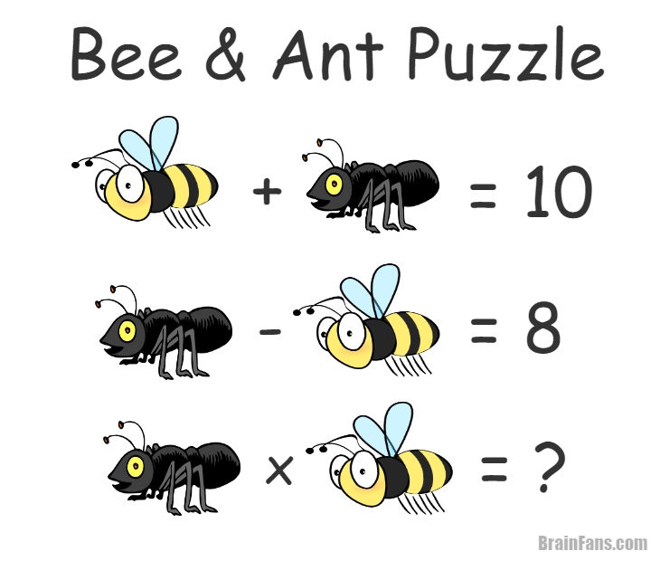 Brain teaser - Number And Math Puzzle - Bee and ant - Bee and ant puzzle for your brain. Can you solve this easy riddle?