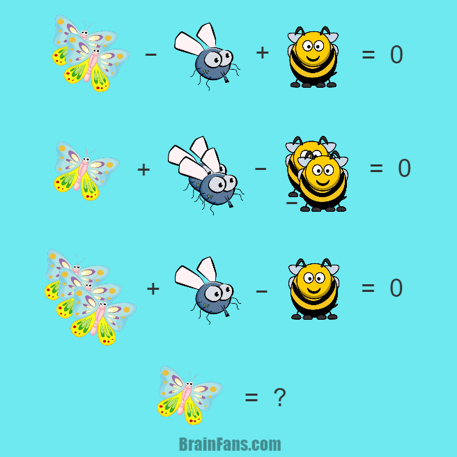 Brain teaser - Number And Math Puzzle - Hard math puzzle for geniuses - Butterfly & Fly & Bee math puzzle for geniuses. Find the value for the butterfly. It might look easy.
