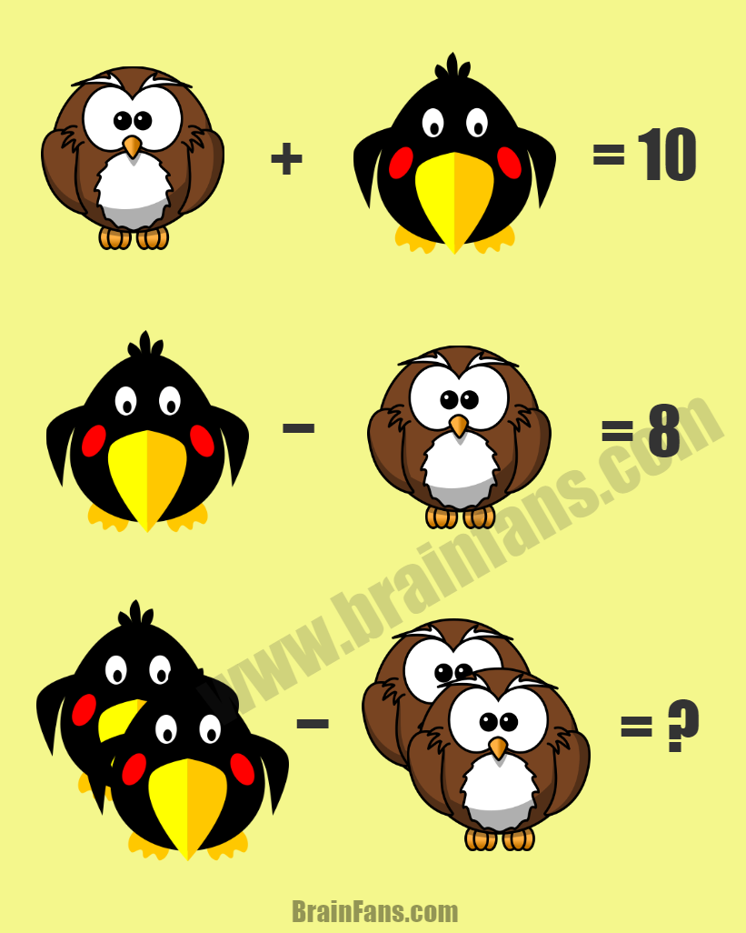 Brain teaser - Number And Math Puzzle - just a math puzzle - Complete this math puzzle by answering it correctly. Which number is the owl? Which number is the bird? Find them out and answer this easier math puzzle with answer!