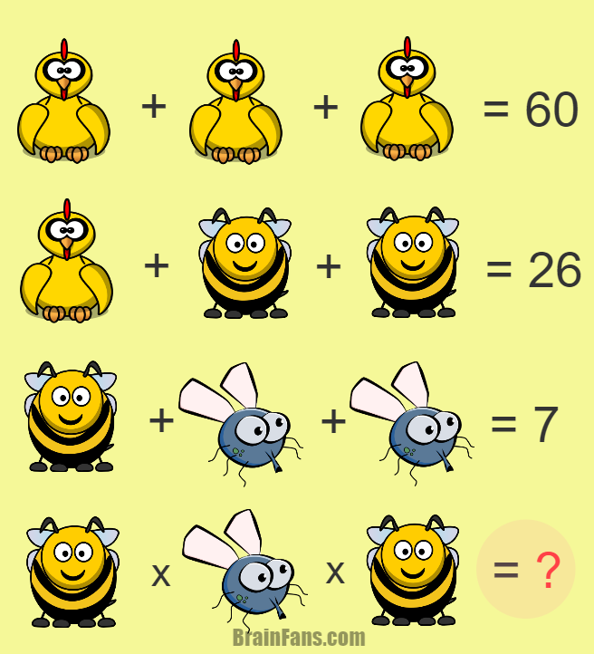 Brain teaser - Number And Math Puzzle - math - Solve this puzzle with chicken, bee and fly. Looks easy, but can you solve it?