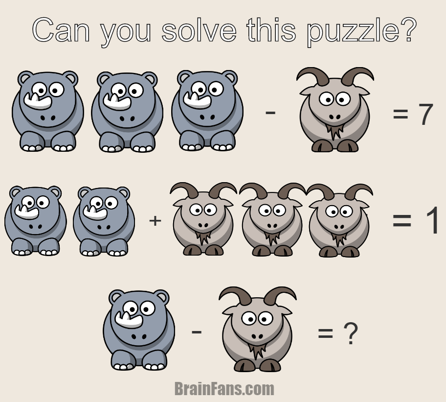 Brain teaser - Number And Math Puzzle - math for geniuses - Can you solve this math puzzle for geniuses? There is a goat and a rhino on the picture. Find numbers for them and show you are the genius!