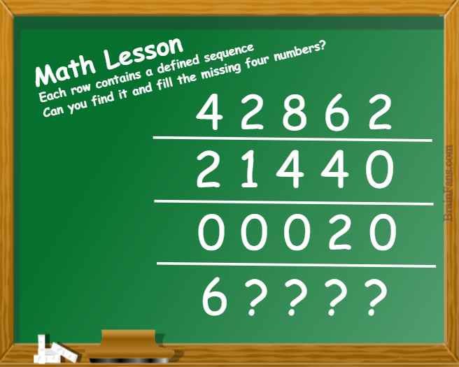 Brain teaser - Number And Math Puzzle - Math Lesson - For rows have the same sequence logic. Can you find it?