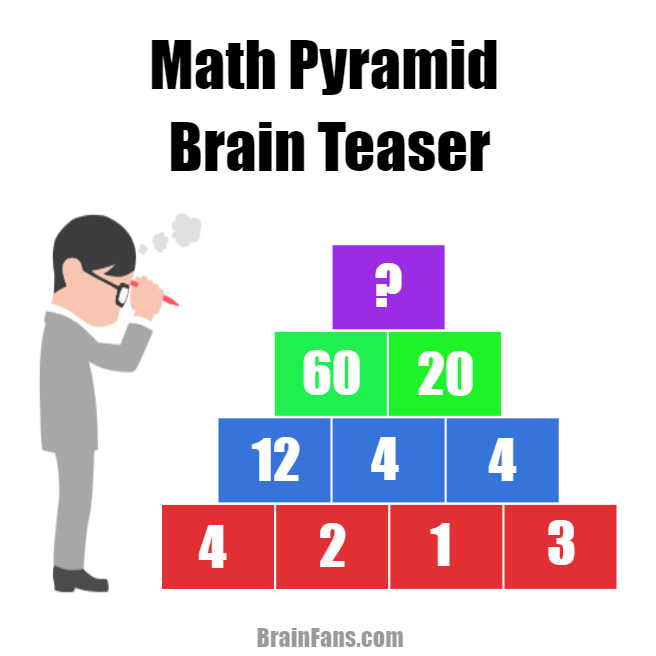 Brain teaser - Number And Math Puzzle - math pyramid brain teaser - There is a math pyramid on the picture. Are you able to solve this brain teaser? Each parent number is calculated from the child numbers.