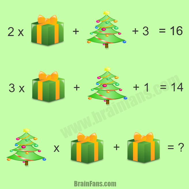 Brain teaser - Number And Math Puzzle - Merry Christmas Puzzle - Merry Christmas to all of the brain fans! Can you solve this math puzzle with one present and tree? Please share if you solved! Thanks!