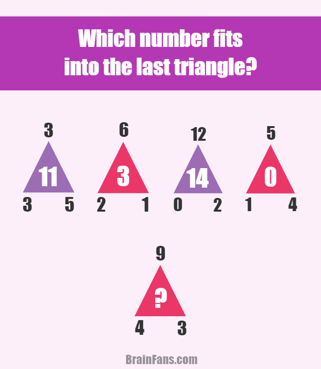 Brain teaser - Number And Math Puzzle - triangle puzzle - Which number fits into the last triangle? Triangles are colored differently - each color (violet/pink) represents a pattern! Find it and get to know the result. Comment if you solve;)