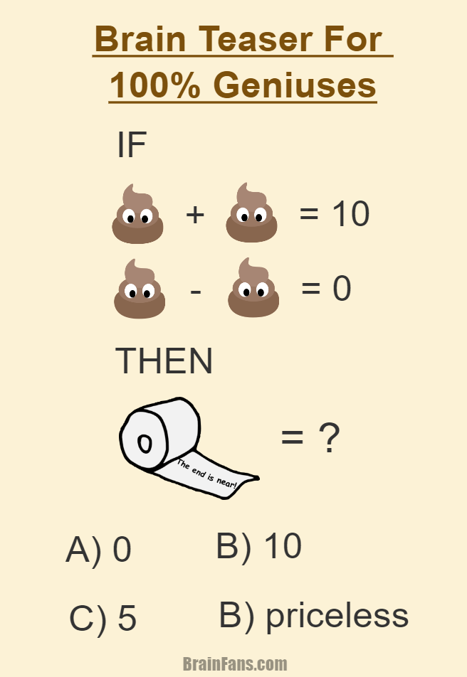 Brain teaser - Picture Logic Puzzle - fun brain teaser for 100 percent geniuses - This fun puzzle requires lots of critical thinking. You have to find value for **** as well as for toilet paper and of course you have the answer! A)? B)? C)? or D)? The answer is up to you LOL.