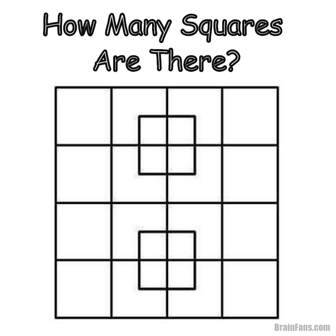 Brain teaser - Picture Logic Puzzle - how many squares are there  - A picture logic puzzle for winter evenings. Can you count the number of squares on the picture? Concentrate yourself and solve this maths picture logic puzzle. Share if you like.