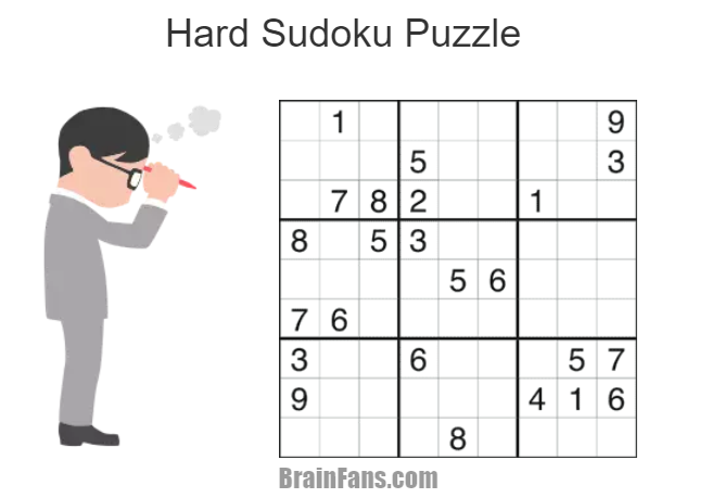 Brain teaser - Sudoku Puzzle - hard - This one is really hard. How much time did you need to fill all the numbers?