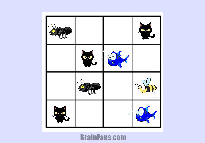 Brain teaser - Sudoku Puzzle - sudoku 4x4 easy - easy sudoku puzzle 4x4 with cute animals. Become the brain master by starting out with this easy one.